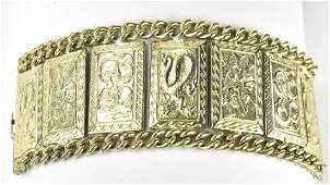 Vintage C 1950 Silver Tone Panel Bracelet