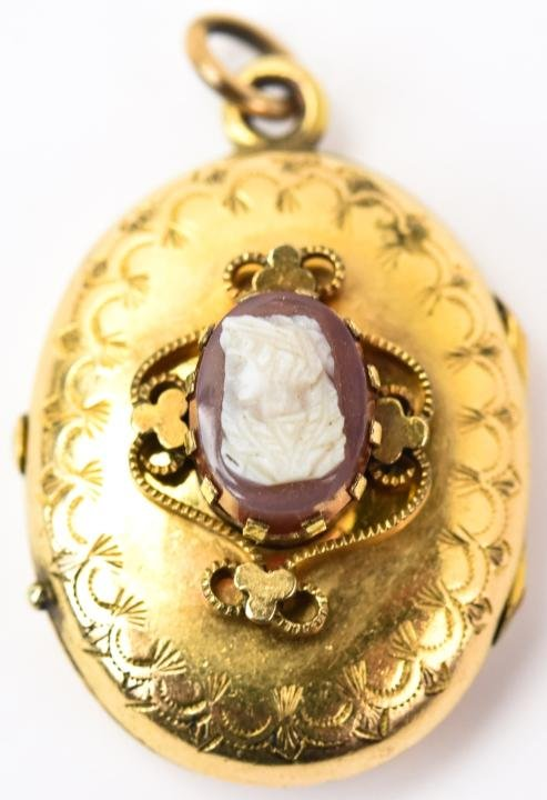 Antique 19th C Gold & Gold Filled Cameo Locket