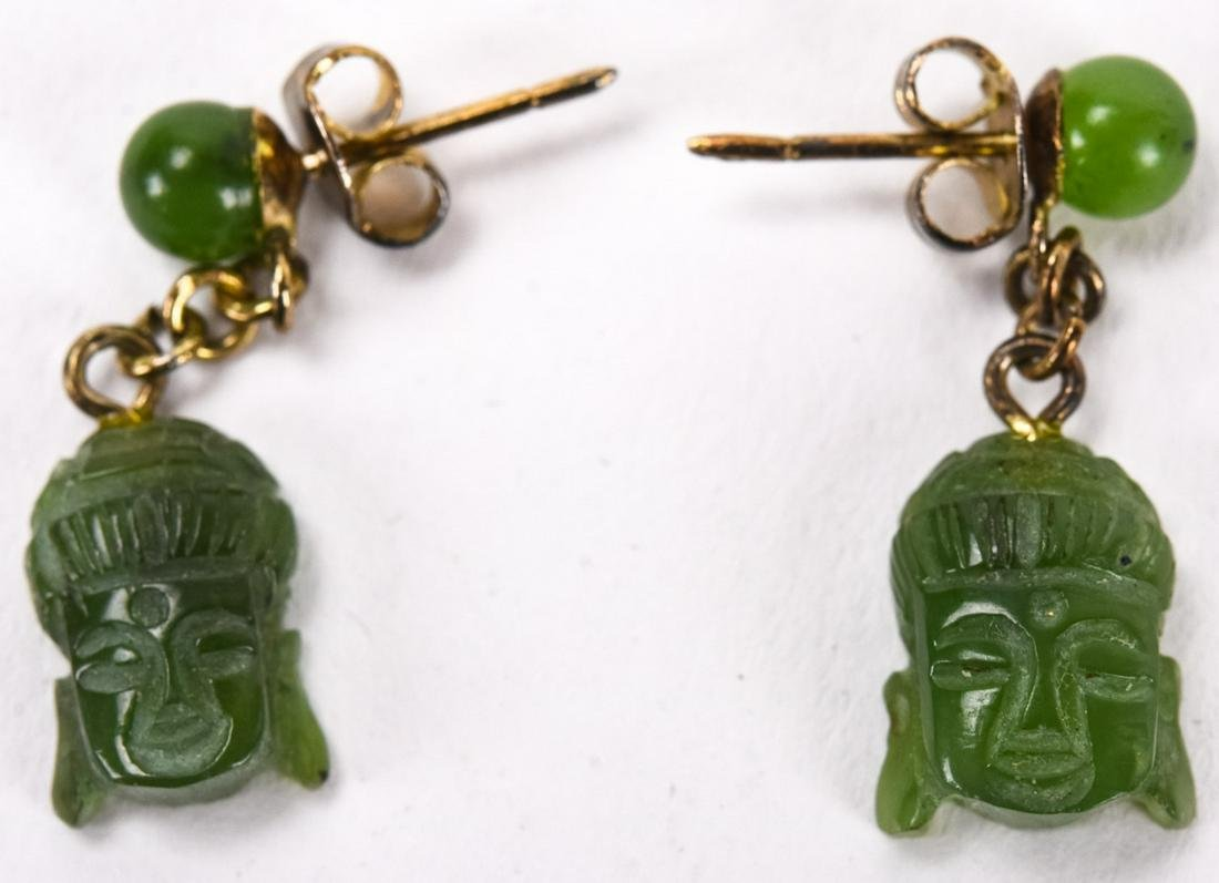Pair Carved Jade Buddha Head Earrings