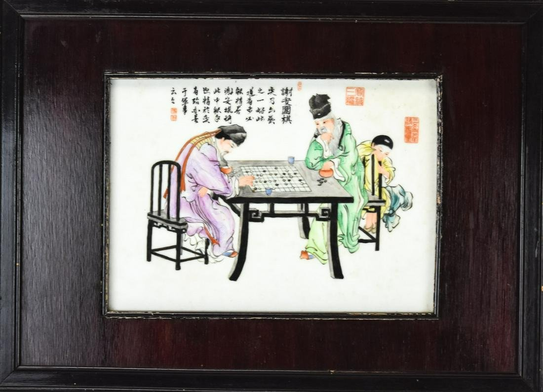 Chinese Framed Hand Painted Porcelain Wall Plaque
