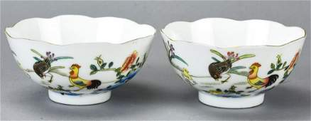 2 Chinese Porcelain Rooster Bowls - Signed