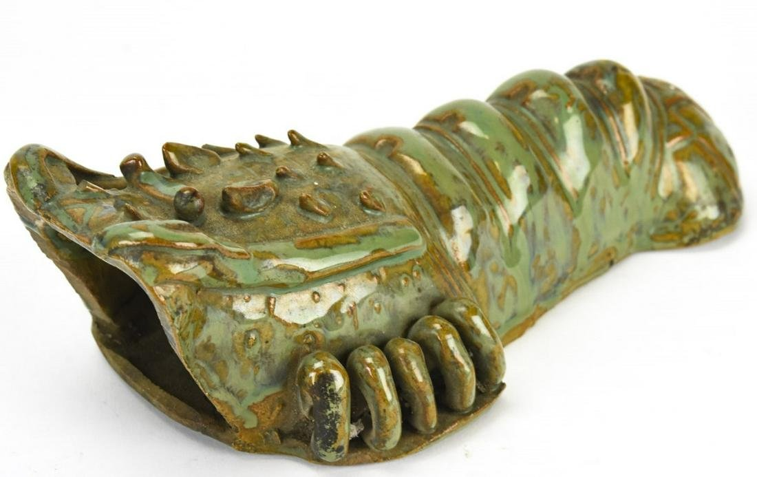Chinese Glazed Pottery Figural Lobster Wall Vase