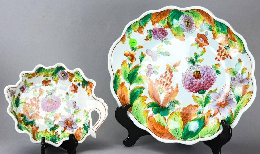Pair Hand Painted Stoneware Floral Platters