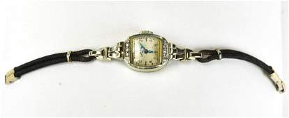 Antique Art Deco 14kt White Gold & Diamond Watch
