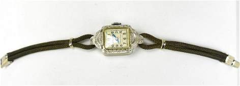 Antique Art Deco 14kt White Gold  Diamond Watch
