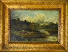 Antique C 1900 English Landscape Oil Painting