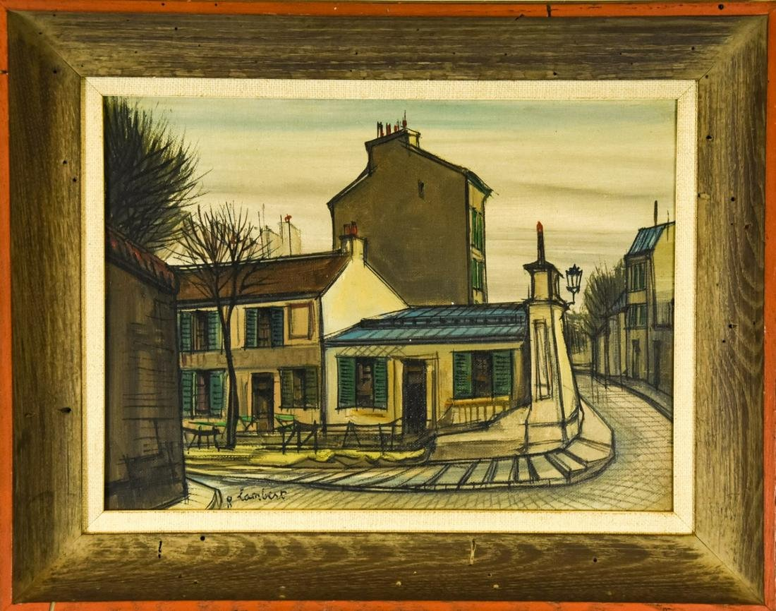 20th C R Lambert French Street Scene Oil Painting