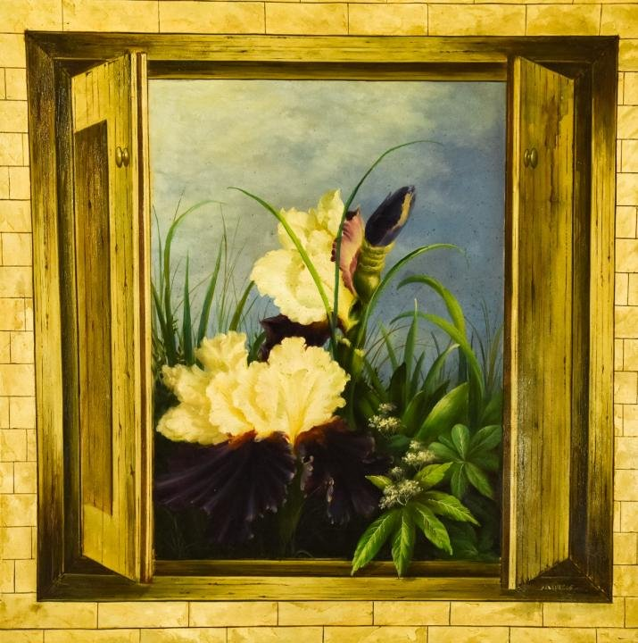 Signed Oil Painting of a Garden Scene