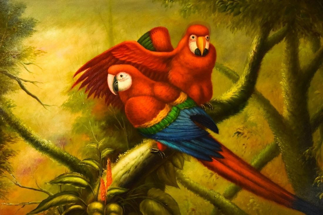Signed Oil Painting of Two Exotic Parrots