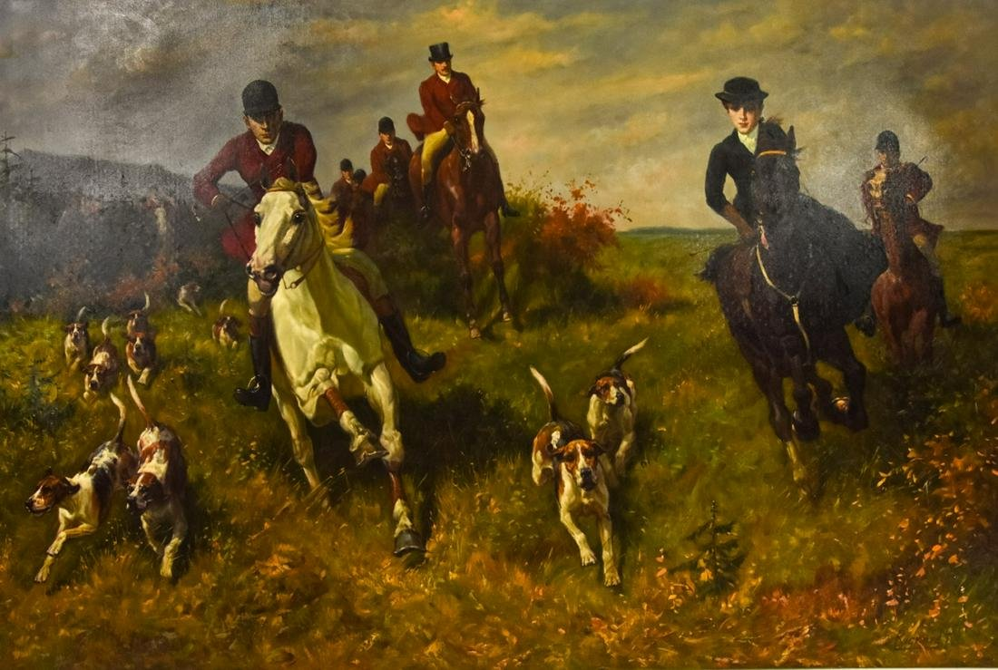 Large Signed Equestrian Hunt Scene Oil Painting