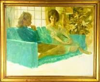 Joe Bowler Genre Oil Painting Framed Signed