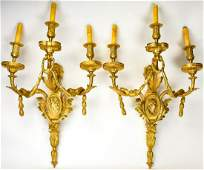 Pair French Empire Gilded Bronze 3 Arm Sconces