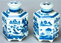 Chinese Canton Blue  White Porcelain Tea Caddies