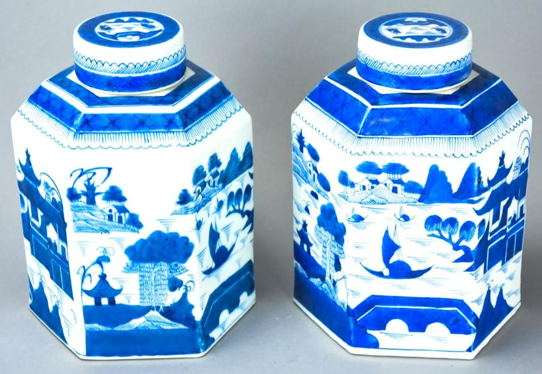 Chinese Canton Blue & White Porcelain Tea Caddies