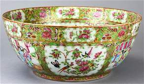 Antique 19th C Large Chinese Rose Medallion Bowl