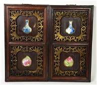 Pair Chinese Wall Plaques W Inlaid Porcelain