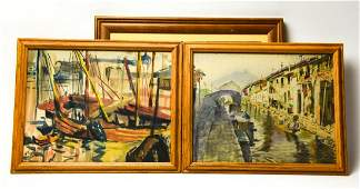 3 Signed Chinese Mid Century Watercolor Paintings