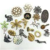 Lot of 21 Vintage Costume Jewelry Pins Many Signed