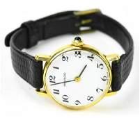 Women's Vintage 14K Movado Watch w Leather Band