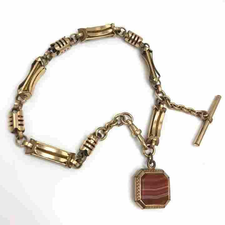Victorian Gold-Filled Watch Chain Intaglio & Agate