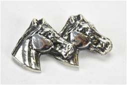 Vintage Sterling Silver Double Horse Head Brooch