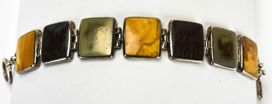 Modernist Sterling Silver Bracelet w Jasper Panels