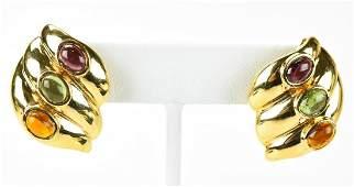 Pair 14k Gold Garnet Citrine & Tourmaline Earrings