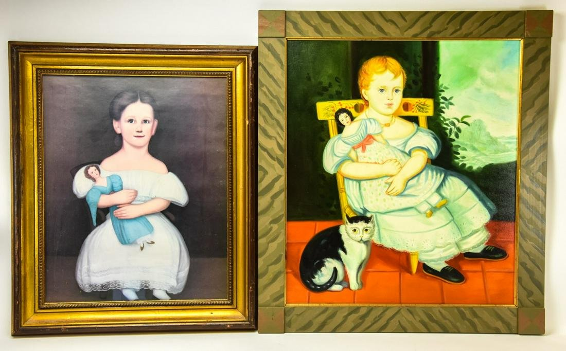Pair Early American Prints of Children & Dolls