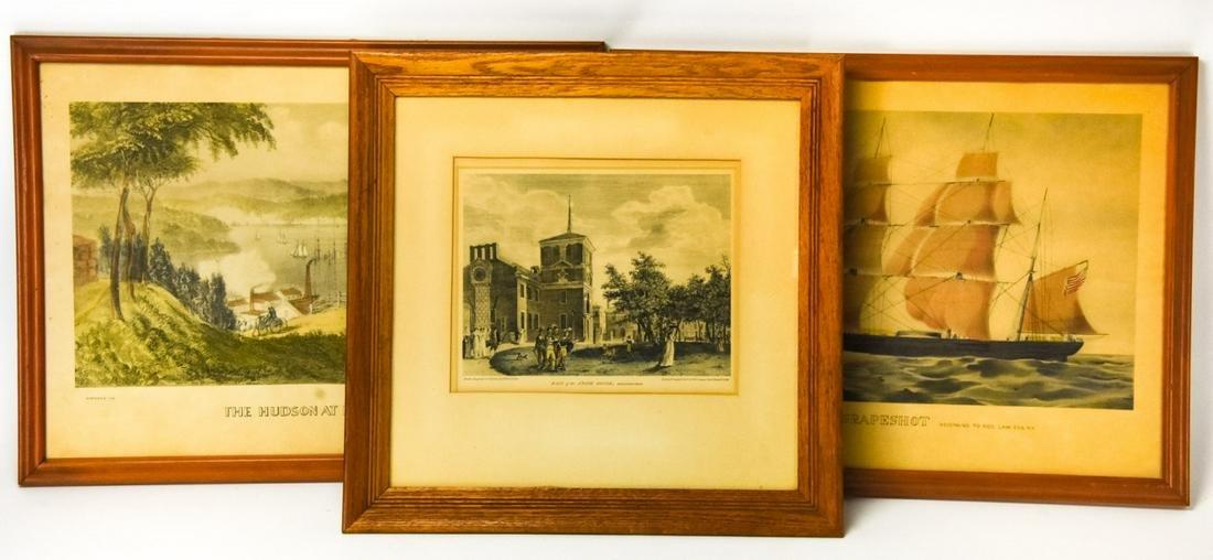 3 Antique Framed Lithographs Currier & Ives