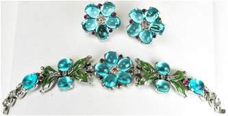 Vintage Trifari Aqua Crystal & Rhinestone Jewelry