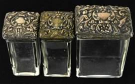 Antique 19th C Sterling Gargoyle Motif Vanity Jars