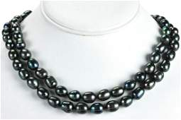 Pair Hand Knotted Baroque Tahitian Pearl Necklaces