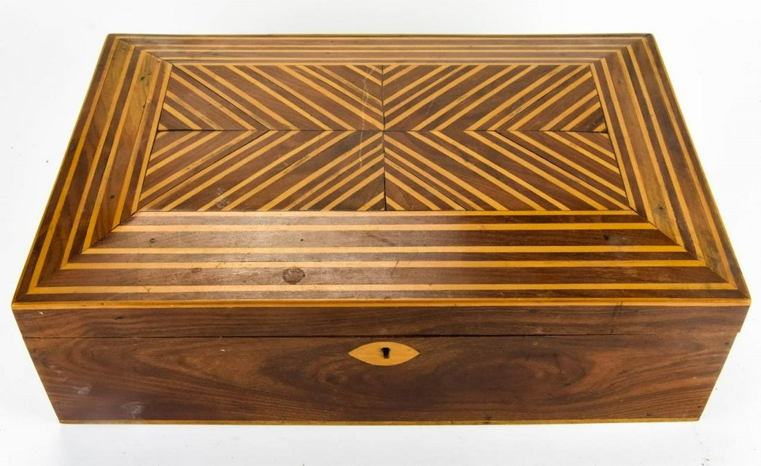 Antique Marquetry Wood Inlaid Jewelry or Table Box