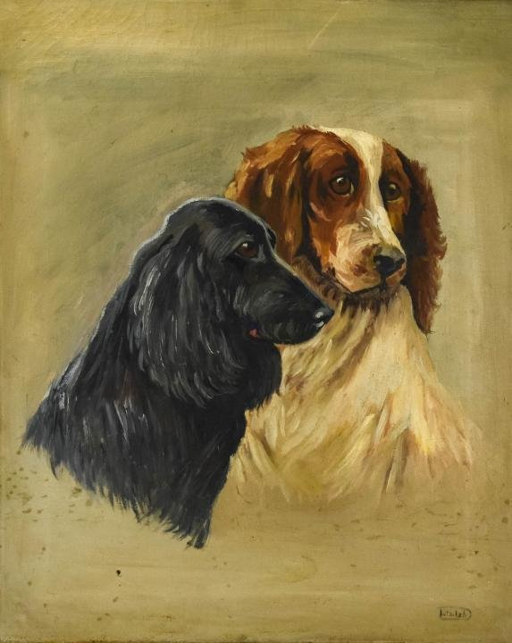 Antique Oil Painting Portrait of Two Setters, Dogs
