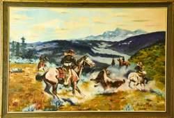 A Dosio Western Cowboy Scene Oil Painting