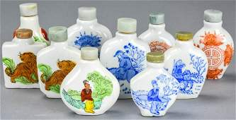 Group Chinese Hand Painted Porcelain Snuff Bottles