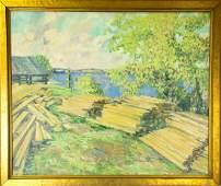 Everett Bryant Landscape Scene Oil Painting