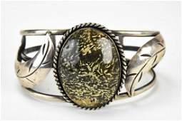 Vintage Native American Silver & Jasper Cuff