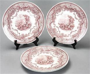 Four Spode Red White Transferware Dinner Plates