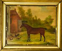 Antique 19th C Signed English Equestrian Painting