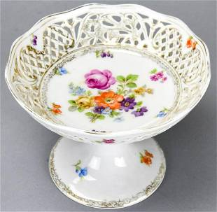 Antique German Reticulated Porcelain Compote