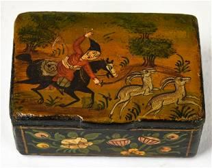 Antique 19th C Indo Persian Paper Mache Snuff Box