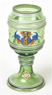 Antique 19th C Bohemian Glass Shield Goblet