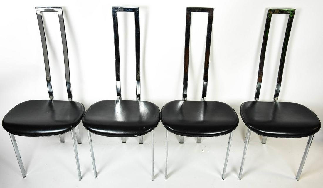 Cattelan Italia Mid Century Chrome Leather Chairs