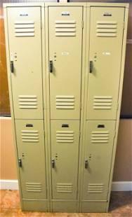 Vintage Penco Products Stacked Metal Gym Lockers
