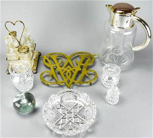 Collection Crystal Glass Brass Tabletop Items