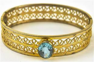 Vintage Gold Filled Bangle Bracelet w Aqua Crystal