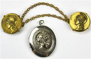 Vintage Greco Roman Locket Pendant Clips