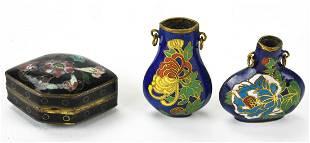 Vintage Miniature Asian Cloisonne Vases Box