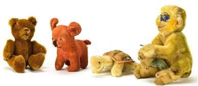 Four Vintage Toy Stuffed Animals Incld Steiff